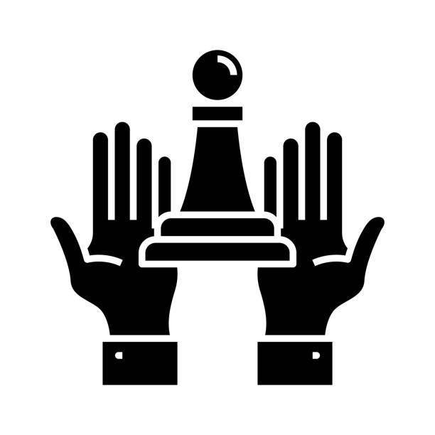 illustrazioni stock, clip art, cartoni animati e icone di tendenza di trump black icon, concept illustration, vector flat symbol, glyph sign - trump