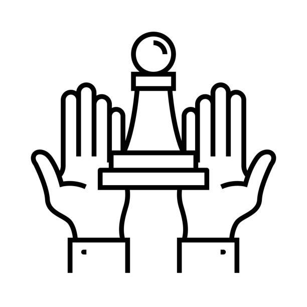 illustrazioni stock, clip art, cartoni animati e icone di tendenza di trump line icon, concept sign, outline vector illustration, linear symbol - trump
