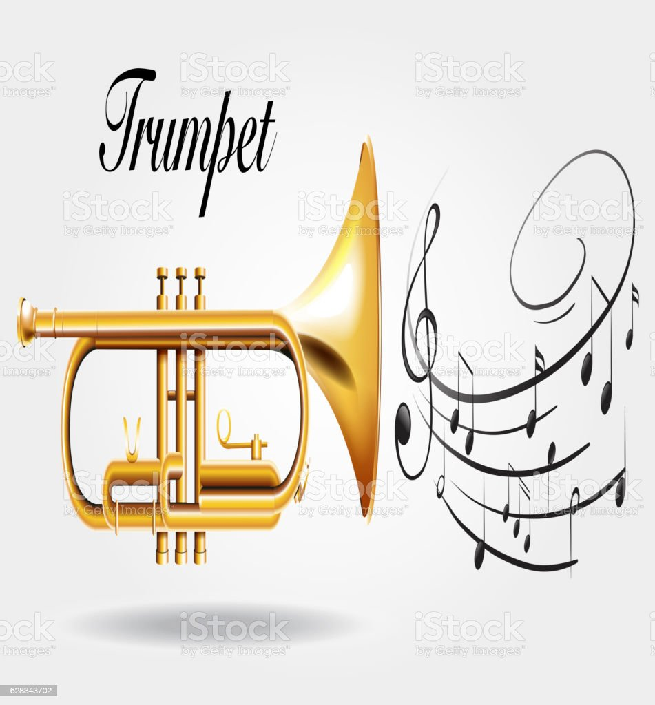 Trumpet and music notes vector art illustration