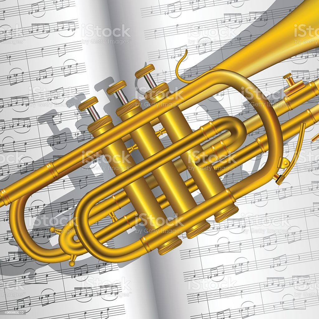 Trumpet and notes vector art illustration