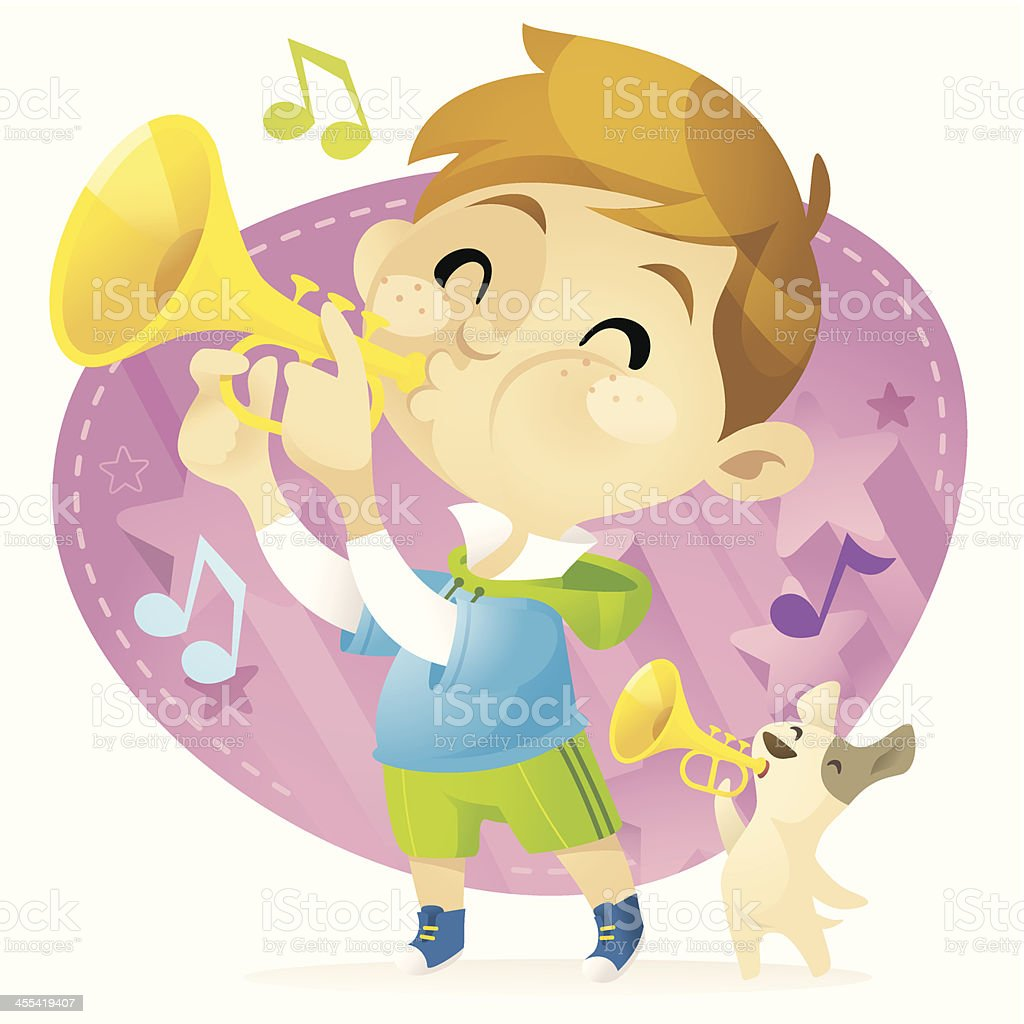 Trumpet Boy vector art illustration