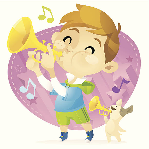 trumpet boy - chihhang stock illustrations