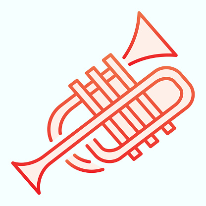 Trumpet flat icon. Wind musical instrument vector illustration isolated on white. Music tuba gradient style design, designed for web and app. Eps 10.