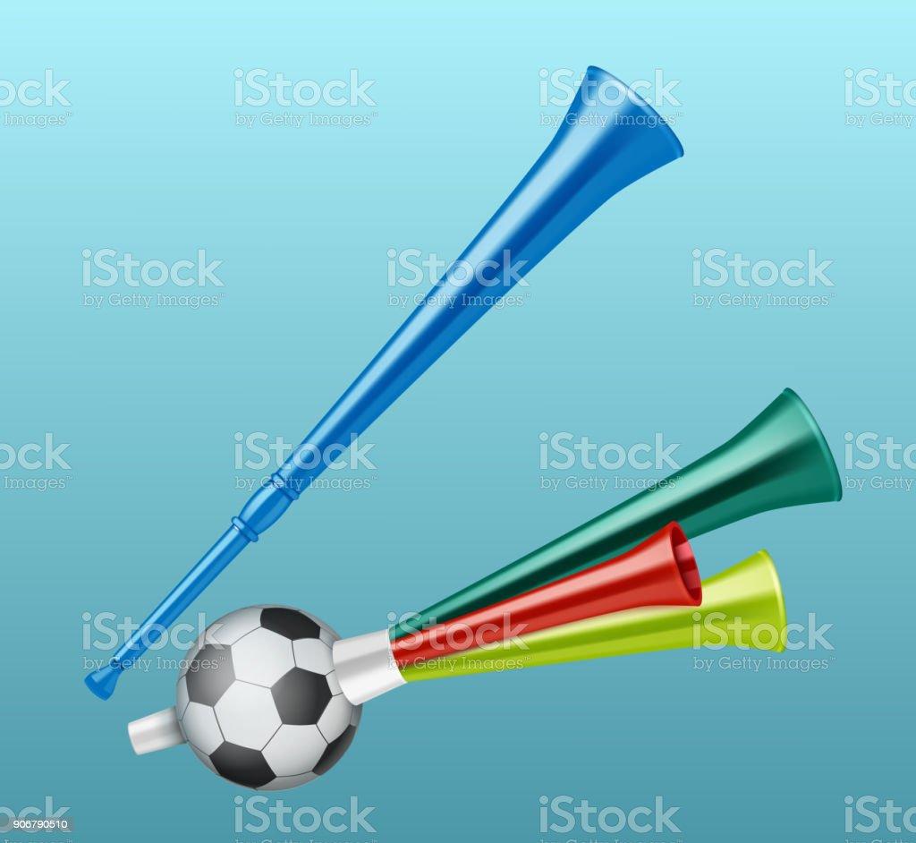 Trumpet football fan. vector art illustration