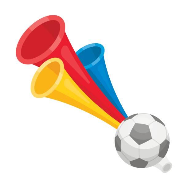 Trumpet football fan.Fans single icon in cartoon style vector symbol stock illustration. - illustrazione arte vettoriale