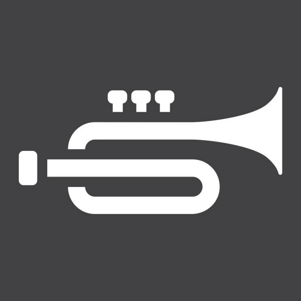 Trumpet glyph icon, music and instrument, sound sign vector graphics, a solid pattern on a black background, eps 10. vector art illustration