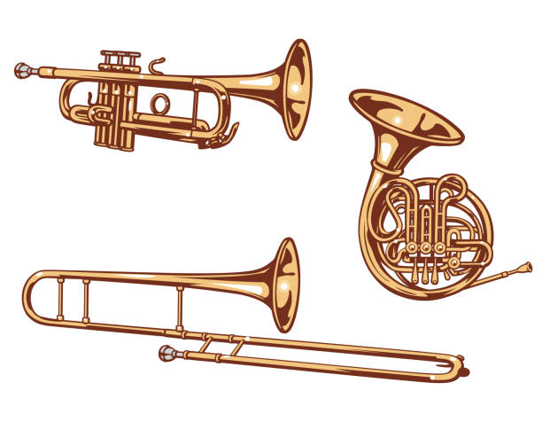 stockillustraties, clipart, cartoons en iconen met trompet, hoorn en trombone - blaasinstrument