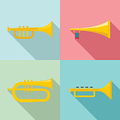 Trumpet horn musical instrument icons set. Flat illustration of 4 trumpet horn musical instrument vector icons for web