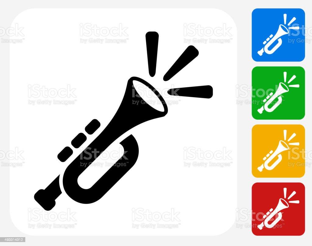 Trumpet Icon Flat Graphic Design vector art illustration