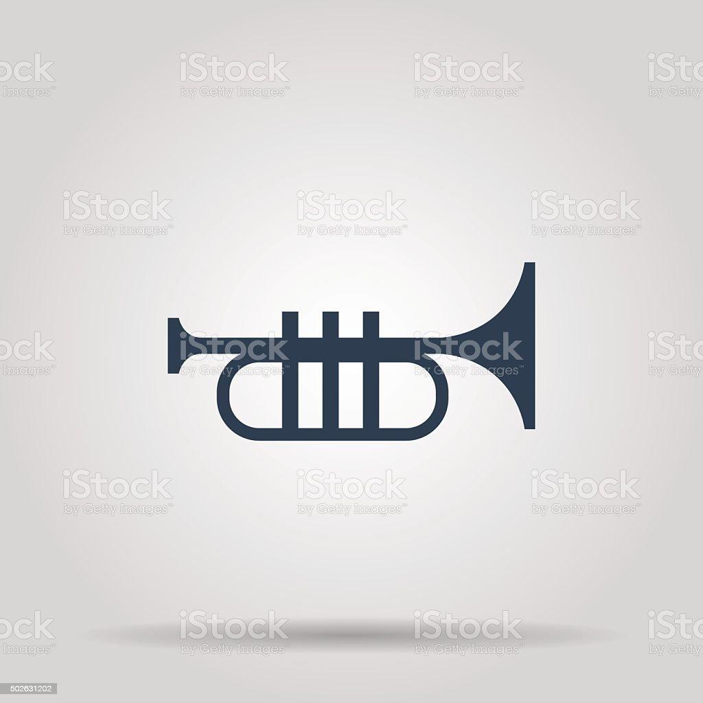 Trumpet icon. Flat vector art illustration