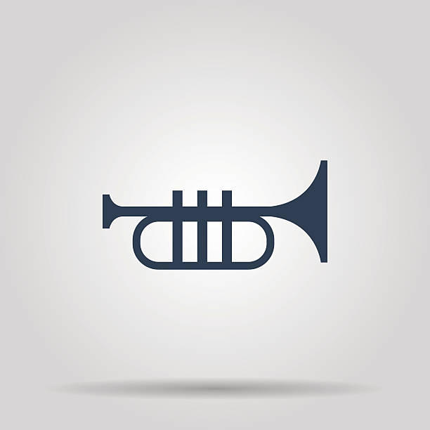 Trumpet icon. Flat vector art illustration