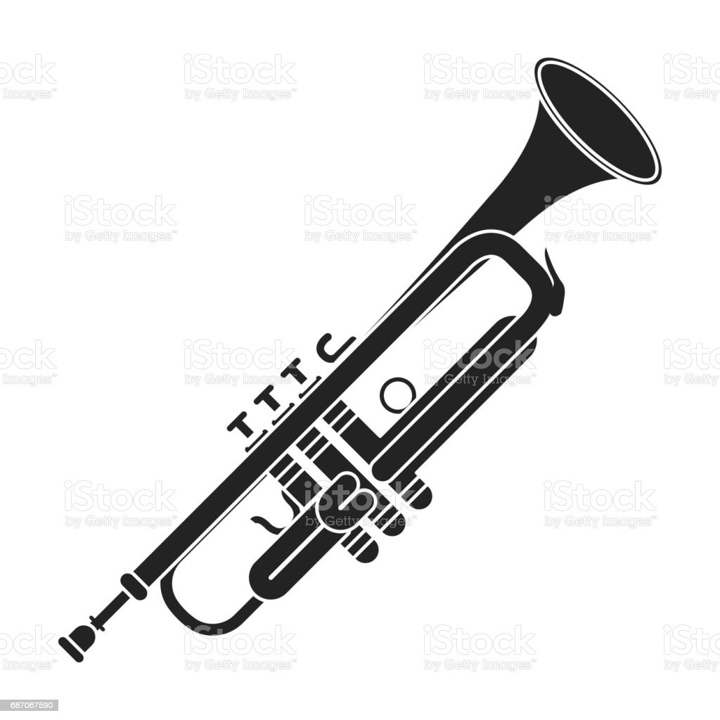 Trumpet icon in black style isolated on white background. Musical instruments symbol stock vector illustration vector art illustration