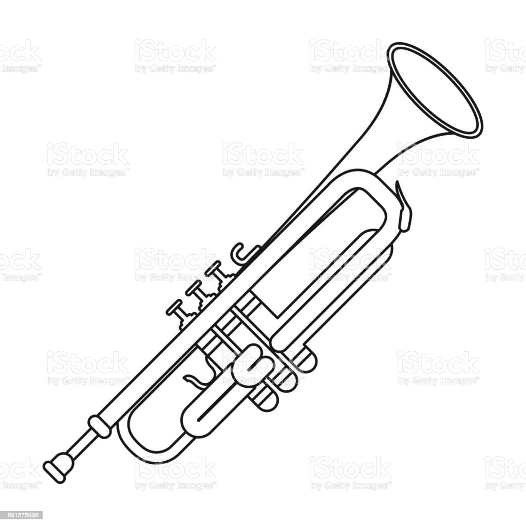Trumpet Icon In Outline Style Isolated On White Background Musical