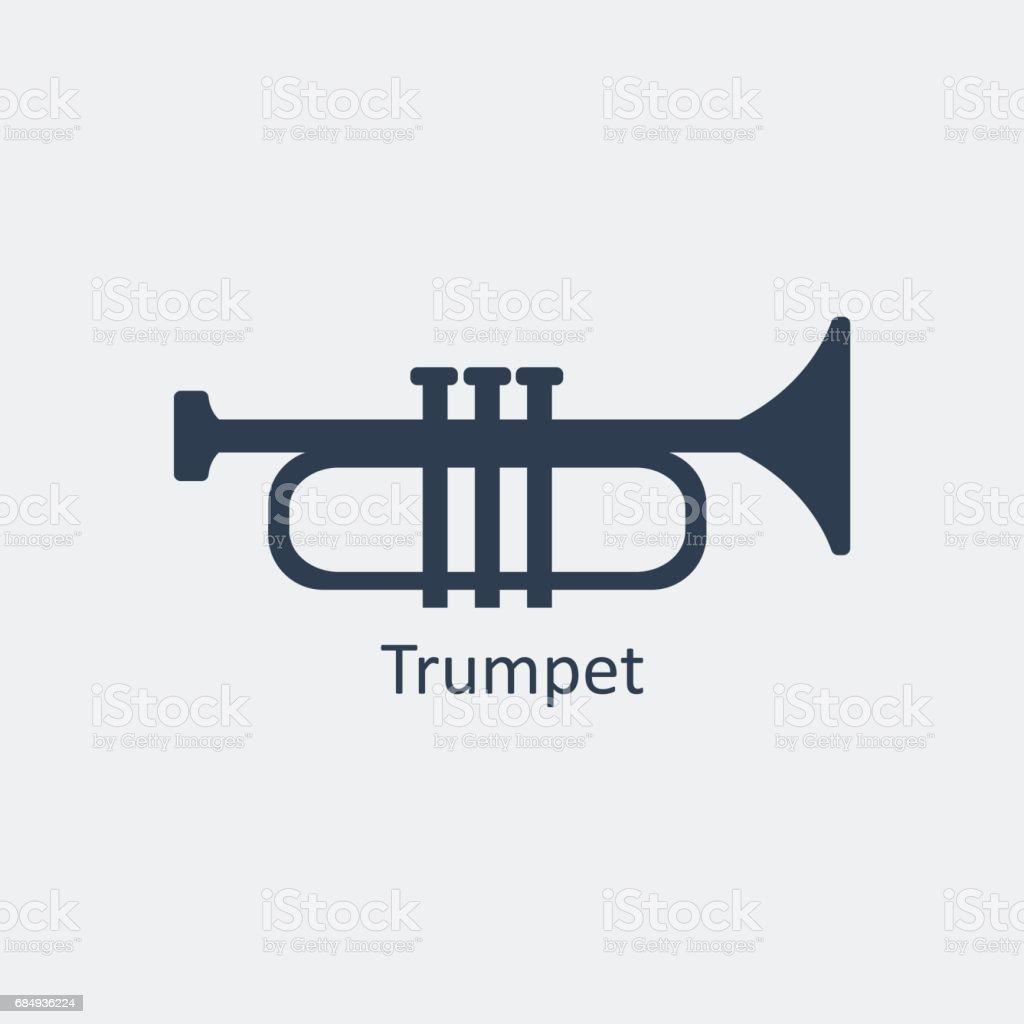 Trumpet icon. Silhouette vector icon vector art illustration