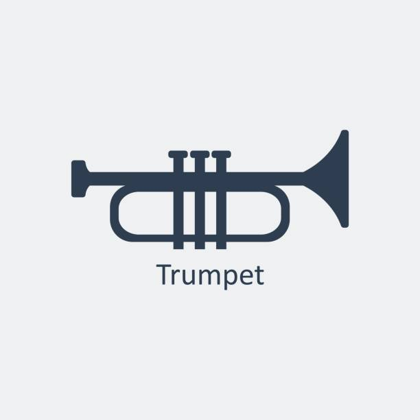 Trumpet icon. Silhouette vector icon vector art illustration