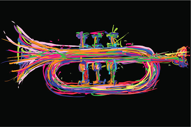 stockillustraties, clipart, cartoons en iconen met trumpet illustration - blaasinstrument