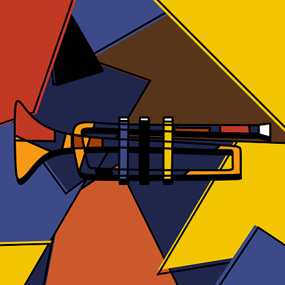 Trumpet instrument cubist style handmade painting art minimalism style. Colorful background classical music instrument. Play the trumpet. Abstract Jazz music art. Vector design illustration