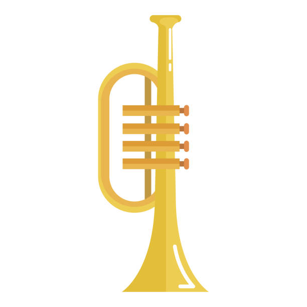 stockillustraties, clipart, cartoons en iconen met trompet instrument geïsoleerde pictogram - trompet