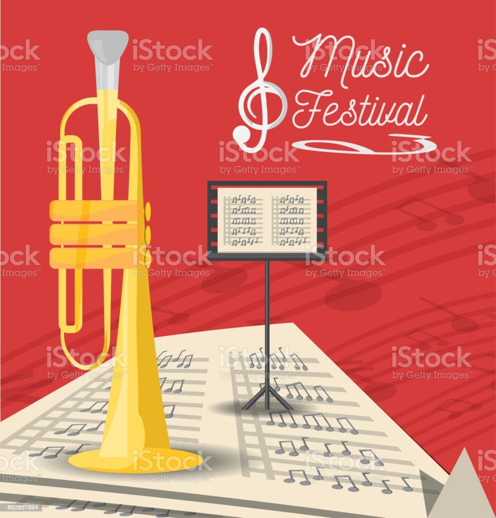 trumpet instrument with music sheets vector art illustration