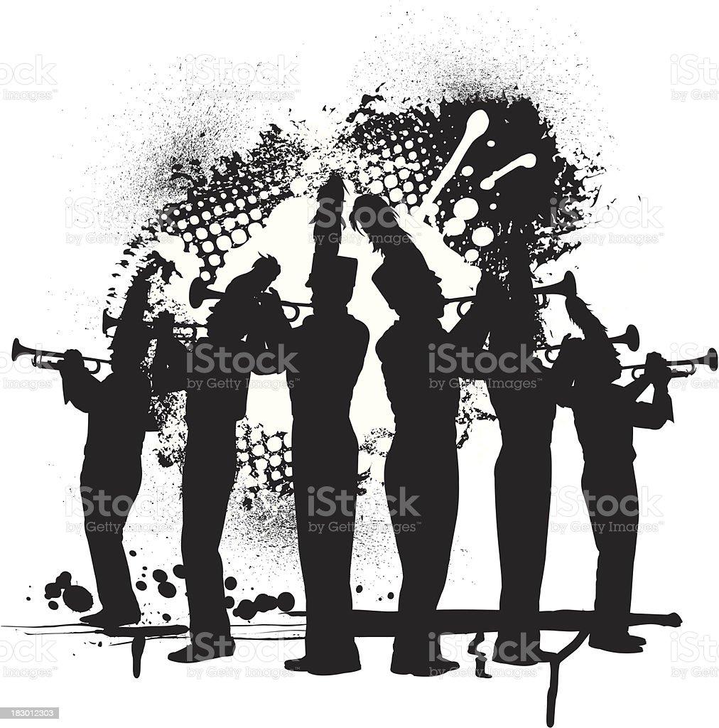 Trompete Linie Grunge-Grafik – Vektorgrafik
