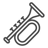 Trumpet line icon. Brass musical instrument with flared bell outline style pictogram on white background. Patrick day and music sign for mobile concept and web design. Vector graphics