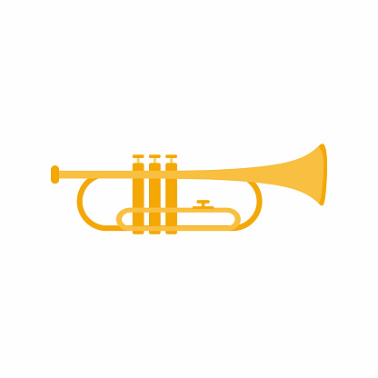Trumpet musical instrument. Classical jazz music instrument. Brass instrument concept with cartoon design. Flat style golden icon isolated on white background. Vector illustration
