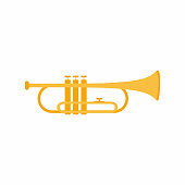 istock Trumpet musical instrument. Classical jazz music instrument. Brass instrument concept with cartoon design. Flat style golden icon isolated on white background. Vector illustration 1310046362
