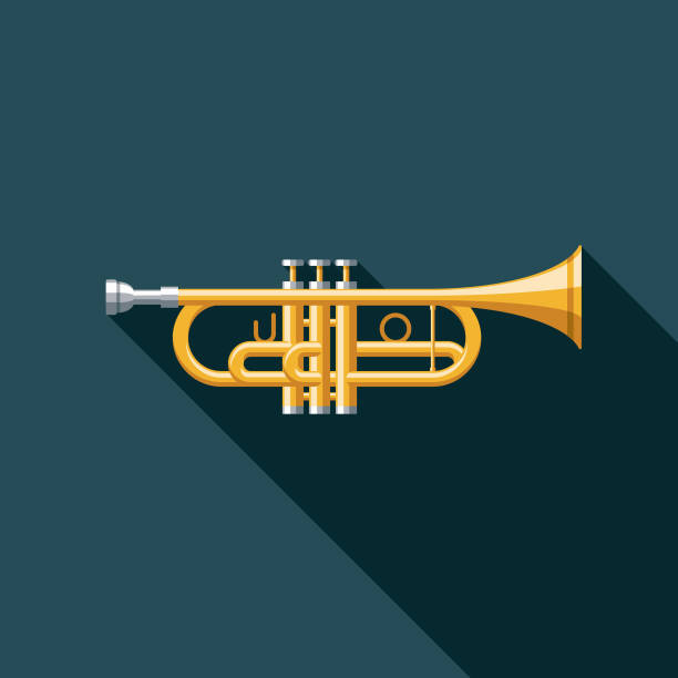 stockillustraties, clipart, cartoons en iconen met trompet muziekinstrument pictogram - trompet