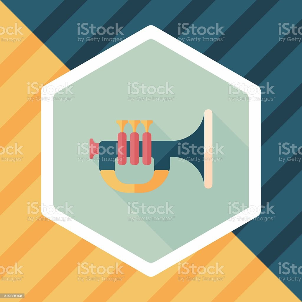 trumpet or horn flat icon with long shadow,eps10 vector art illustration
