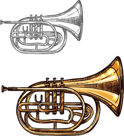 Trumpet or horn jazz music instrument sketch