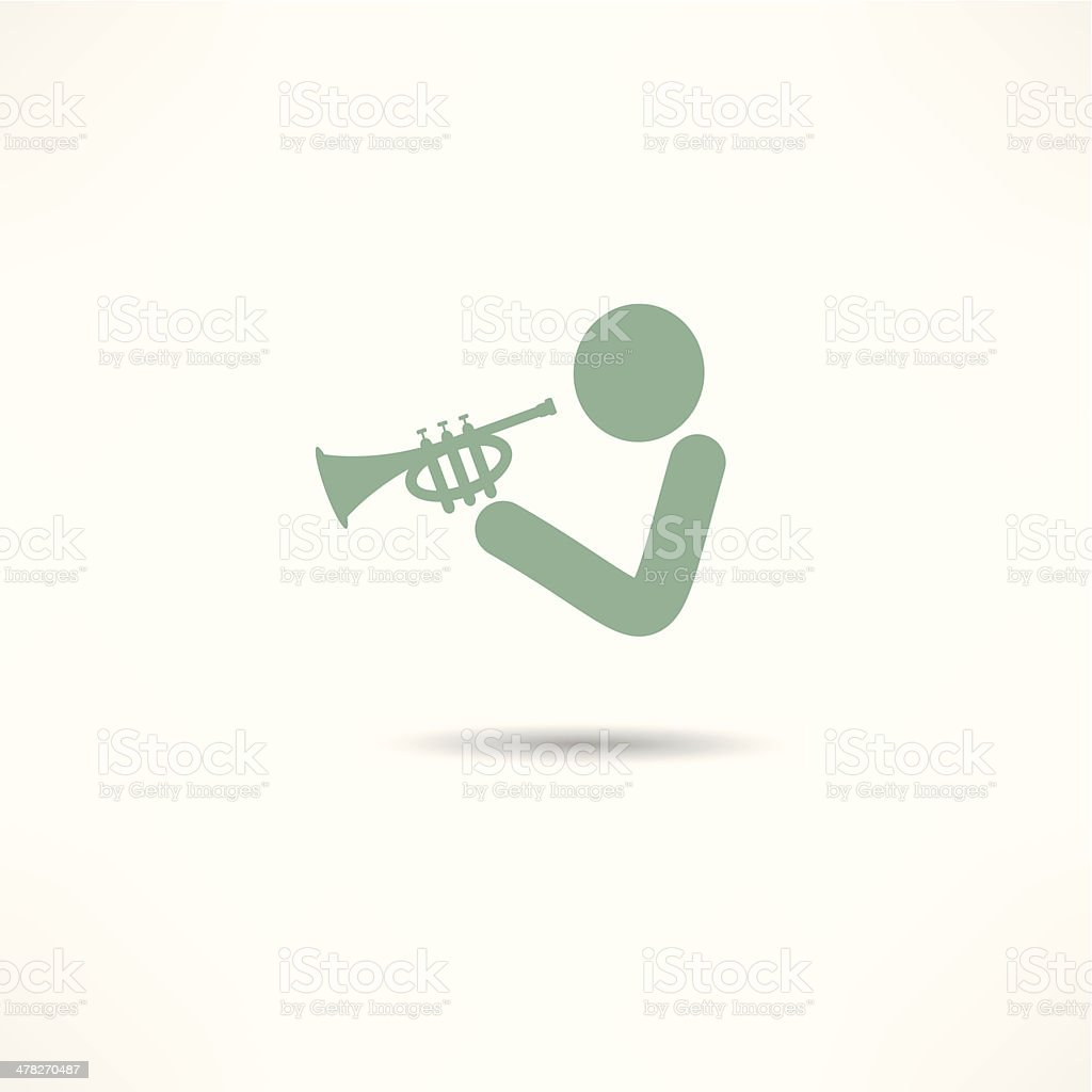Trumpet player icon royalty-free stock vector art