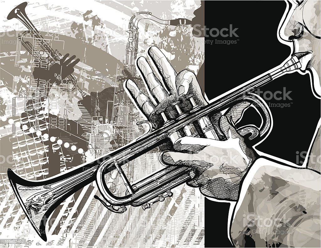Trumpet player vector art illustration
