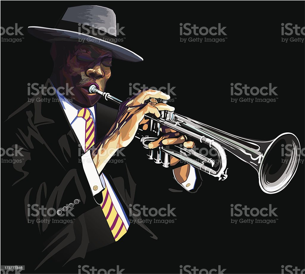 Trumpet player royalty-free trumpet player stock vector art & more images of african ethnicity