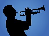 Vector silhouette of a musician playing a trumpet against a gradient blue background.