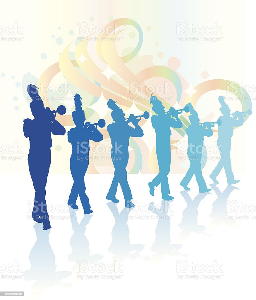 Trumpet Players - Marching Band vector art illustration