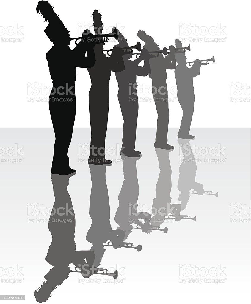 Trompete Spieler-Blaskapelle – Vektorgrafik