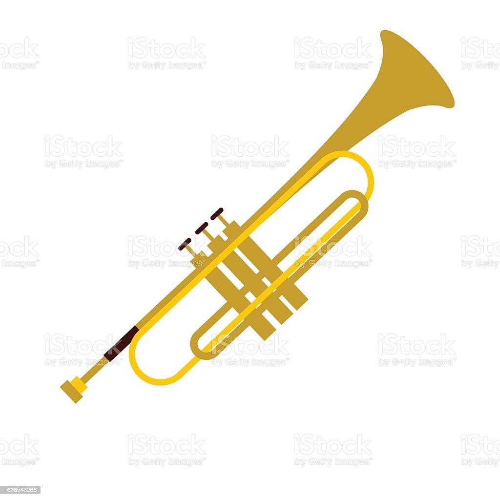 Trumpet simple flat icon vector art illustration
