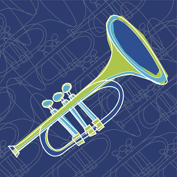 ilustraciones, imágenes clip art, dibujos animados e iconos de stock de trompeta - tintanegra00