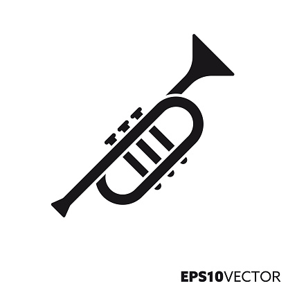 Trumpet solid black icon. Glyph symbol of brass instruments and music. Musical instrument flat vector illustration.