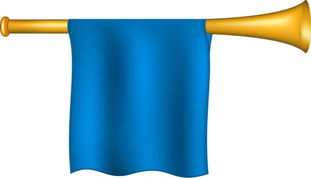 trompete mit blauen flagge - fanfare stock-grafiken, -clipart, -cartoons und -symbole
