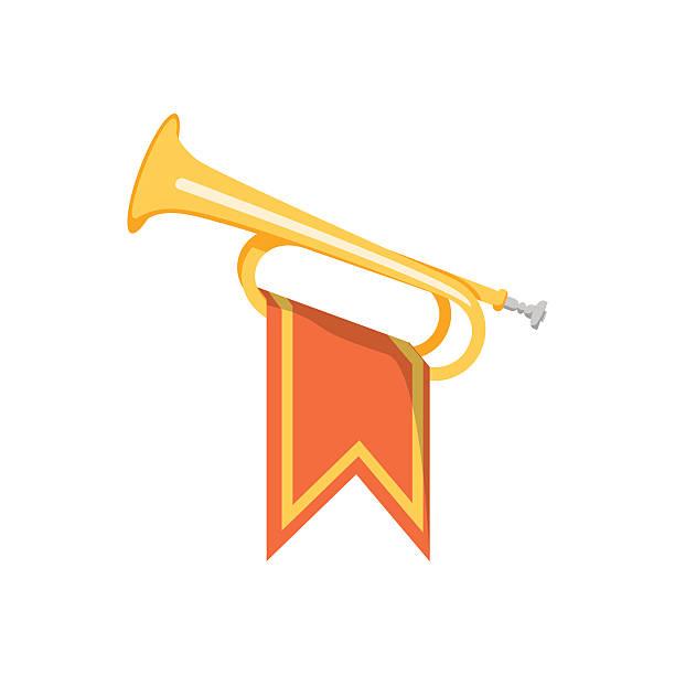 trumpet with flag icon. - fanfare stock-grafiken, -clipart, -cartoons und -symbole