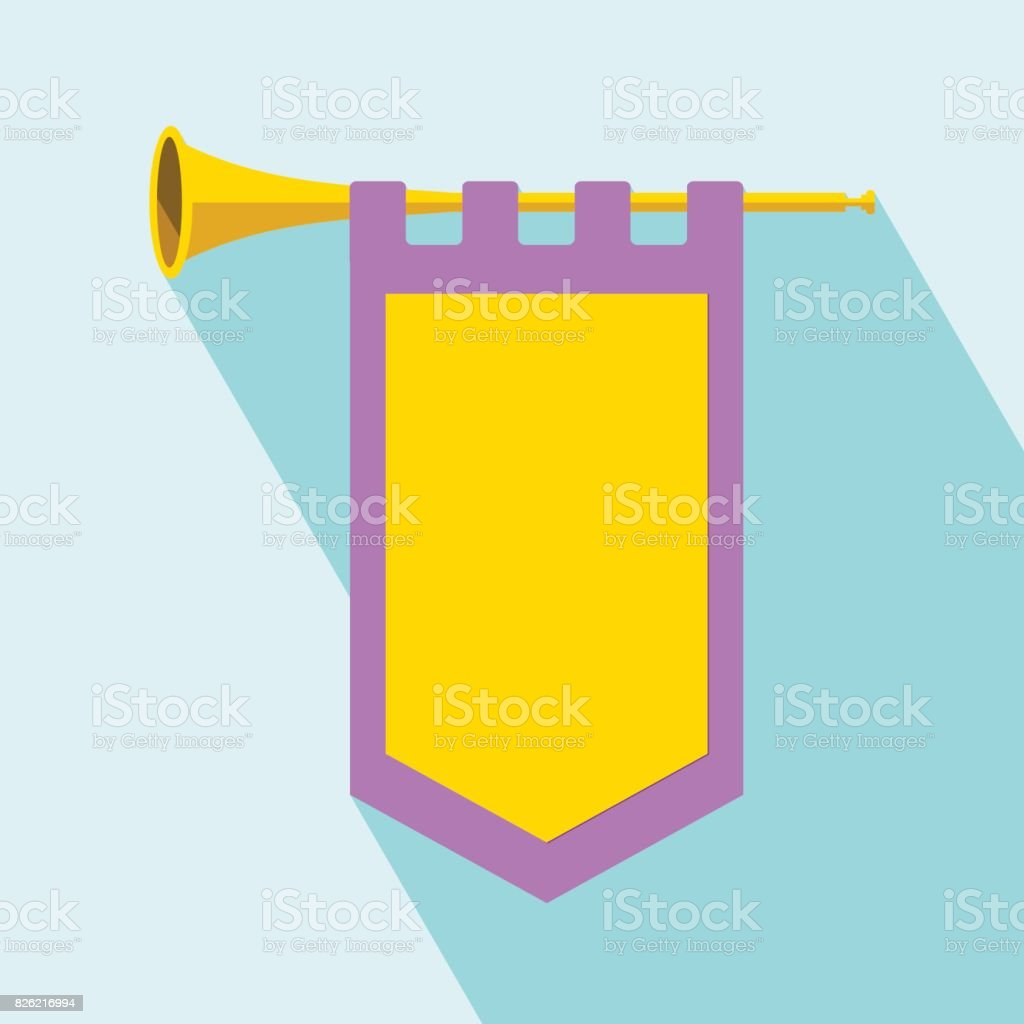 Trumpet with flag Icon Vector vector art illustration