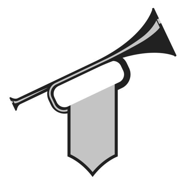 trumpet with flag - fanfare stock-grafiken, -clipart, -cartoons und -symbole
