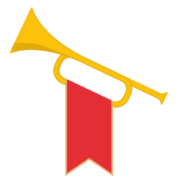 Trumpet with flag vector art illustration