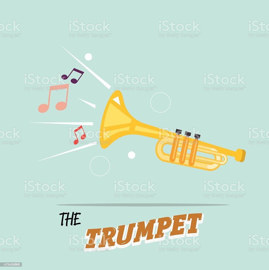 trumpet with music note. instrument concept - vector illustration vector art illustration