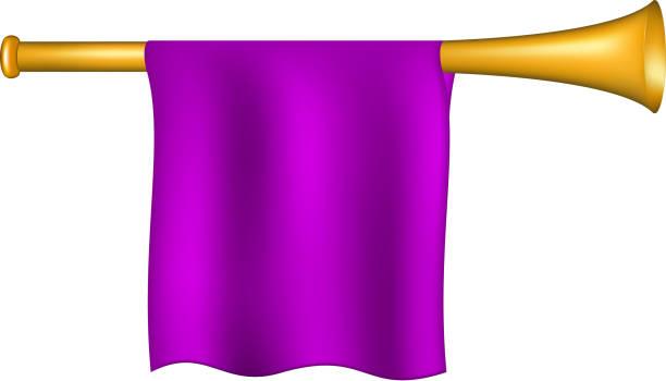 trompete mit lila flagge - fanfare stock-grafiken, -clipart, -cartoons und -symbole