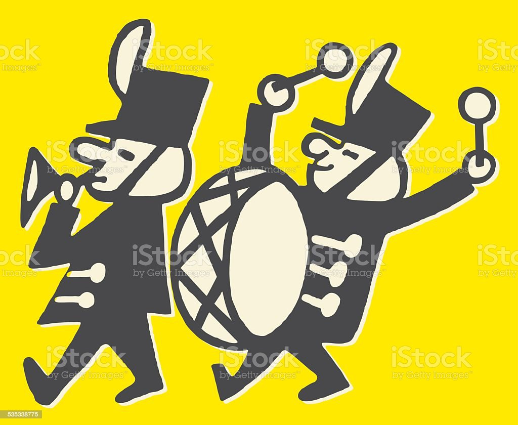 Trumpeter and Bass Drummer in Marching Band vector art illustration