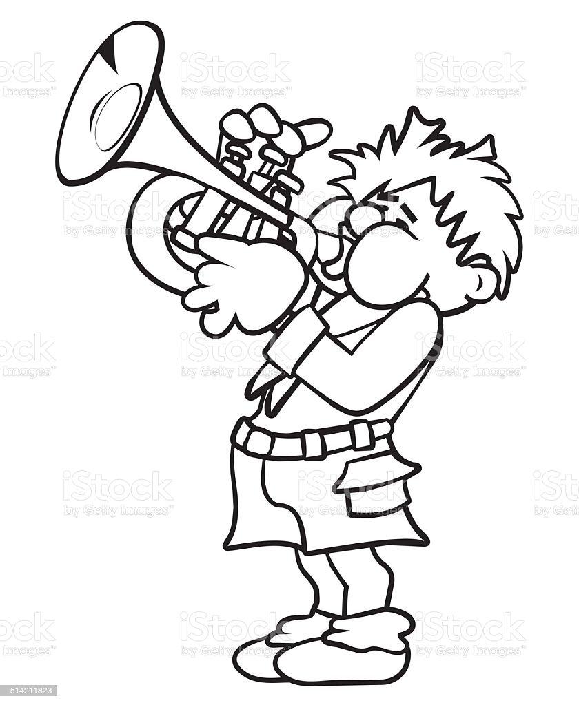Ilustración de Trompetista Libro Para Colorear y más banco de ...