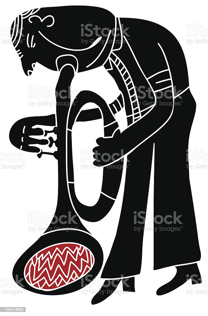 trumpeter play his instrument royalty-free stock vector art