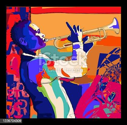 istock Trumpeter playing. Jazz trumpet player 1226704309